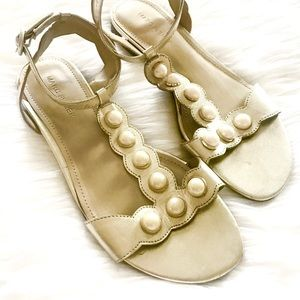 Marc Fisher Gold Leather Sandals